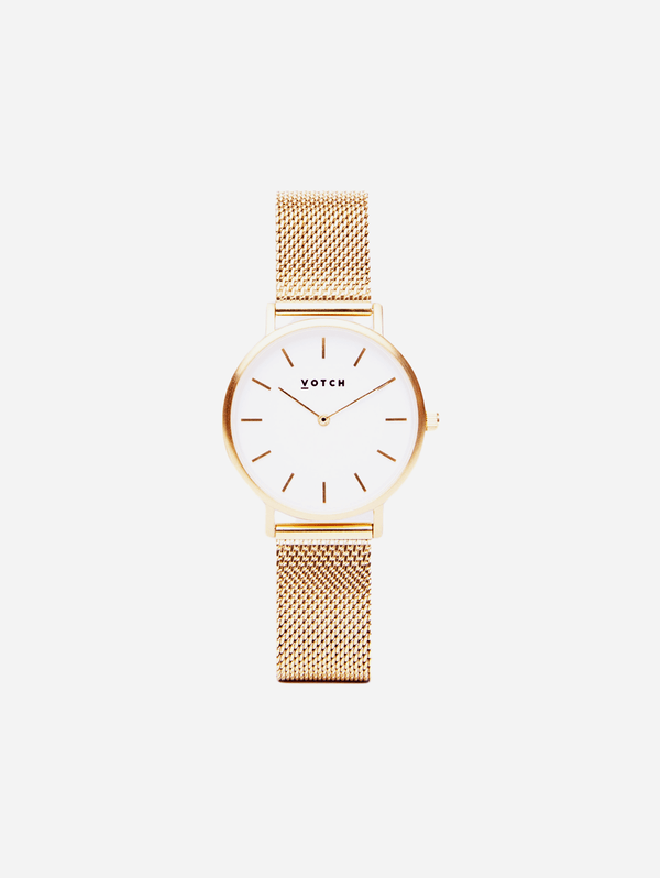 Votch Gold & Gold Vegan Watch | Mesh Petite