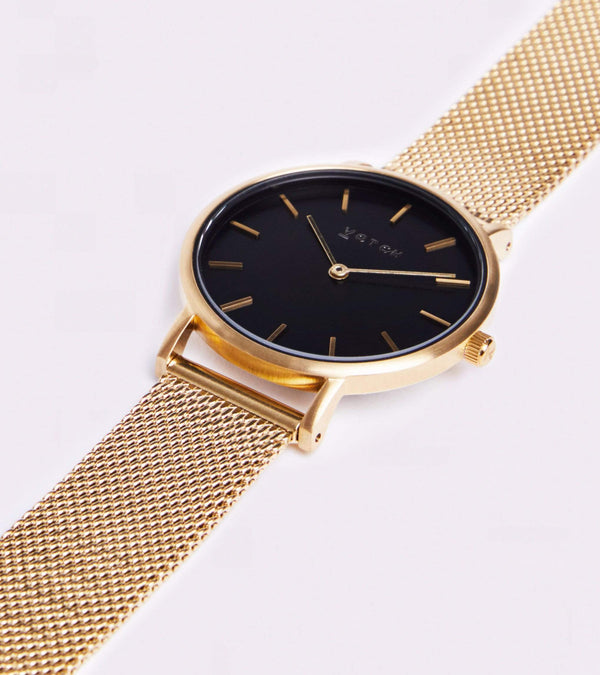 Votch Gold & Gold Vegan Watch with Black Face | Mesh Petite