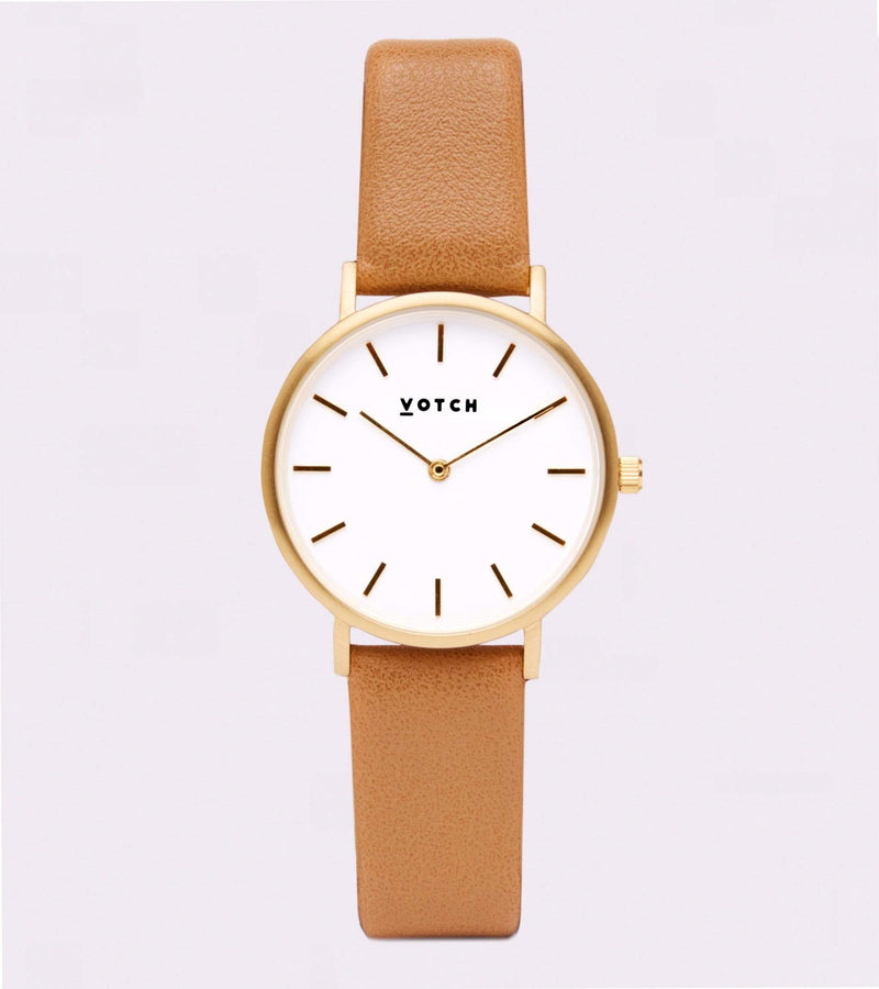 Votch Gold & Tan Vegan Watch | Petite