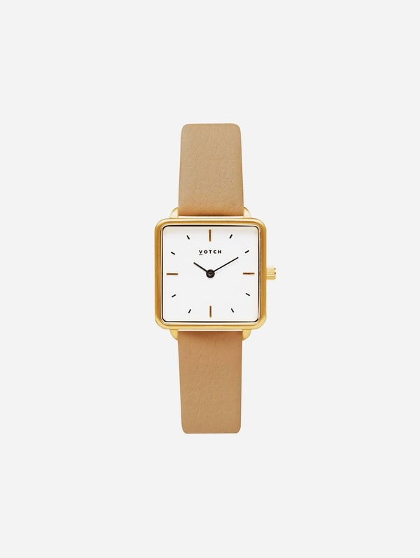 Votch Kindred Gold & White Dial Watch | Tan Vegan Leather Strap
