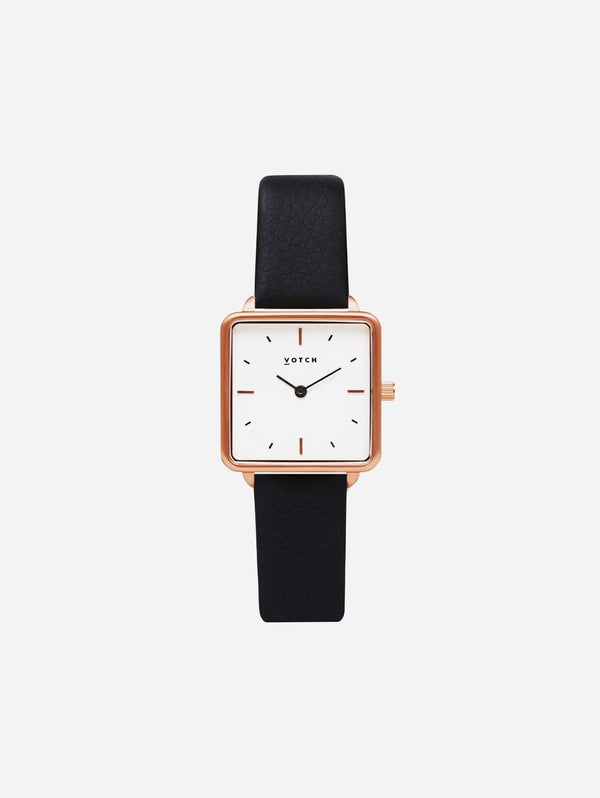 Votch Kindred Rose Gold & White Dial Watch | Black Vegan Leather Strap