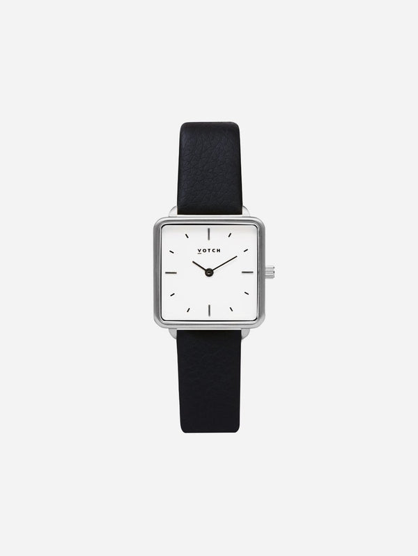 Votch Kindred Silver & White Dial Watch | Black Vegan Leather Strap
