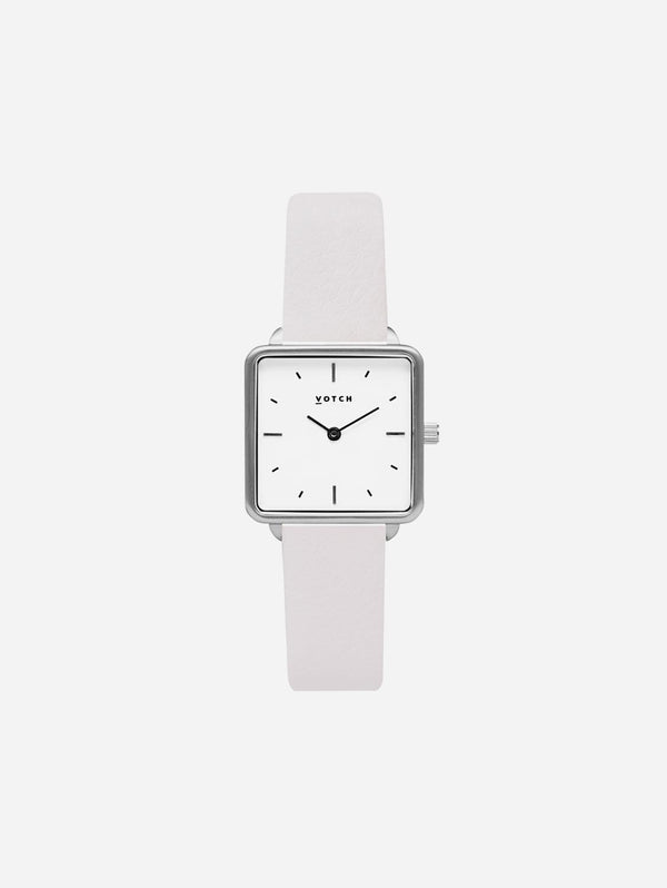 Votch Kindred Silver & White Dial Watch | Light Grey Vegan Leather Strap