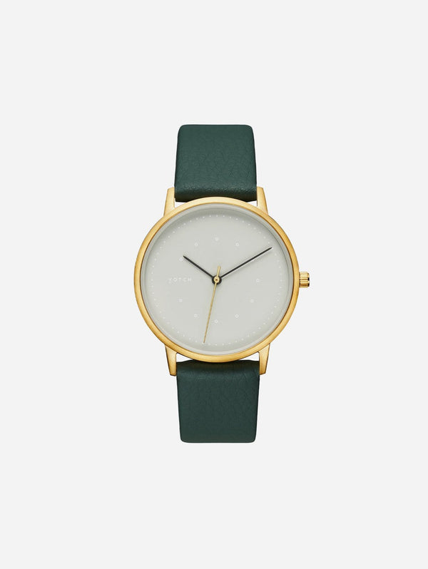 Votch Lyka Gold & Grey Dial Watch | Forest Green Vegan Leather Strap