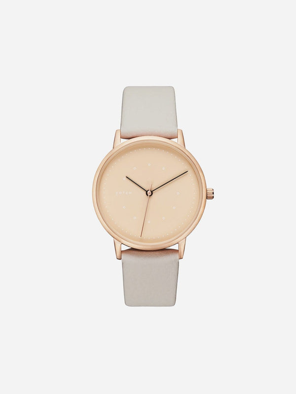 Votch Lyka Rose Gold & Taupe Dial Watch | Cloudy Grey Vegan Leather Strap