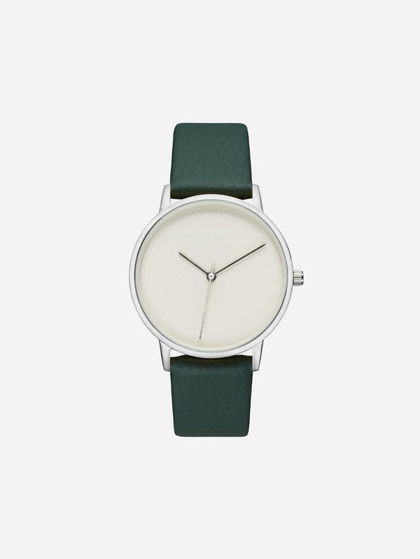 Votch Lyka Silver & Grey Dial Watch | Forest Green Vegan Leather Strap