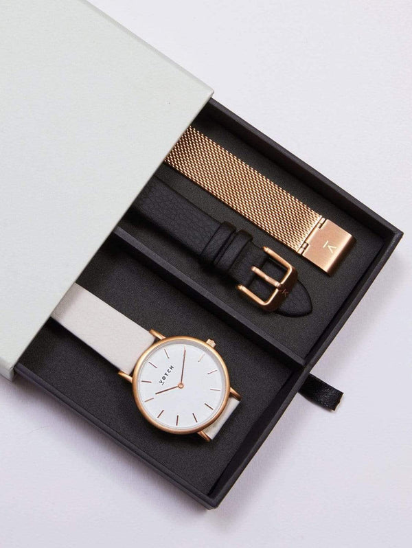 Votch Petite Rose Gold & White Dial Watch Gift Set | Multi Vegan Leather & Mesh Straps