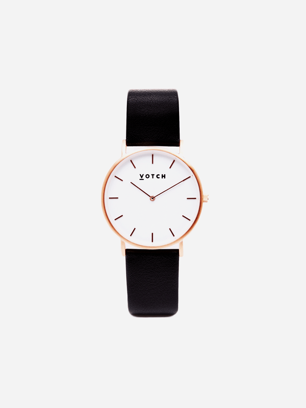 Votch Rose Gold & Black Vegan Watch | Classic