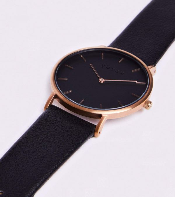 Votch Rose Gold & Black with Black Face Vegan Watch | Classic