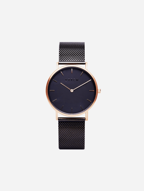 Votch Rose Gold & Black with Black Face Vegan Watch | Mesh Classic