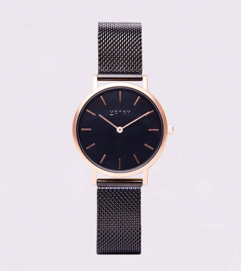 Votch Rose Gold & Black with Black Face Vegan Watch | Mesh Petite