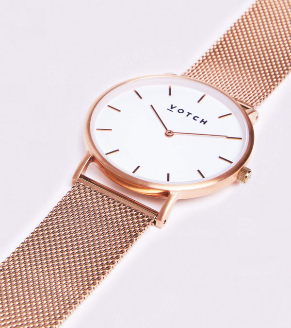Votch Rose Gold & Rose Gold Vegan Watch | Mesh Classic