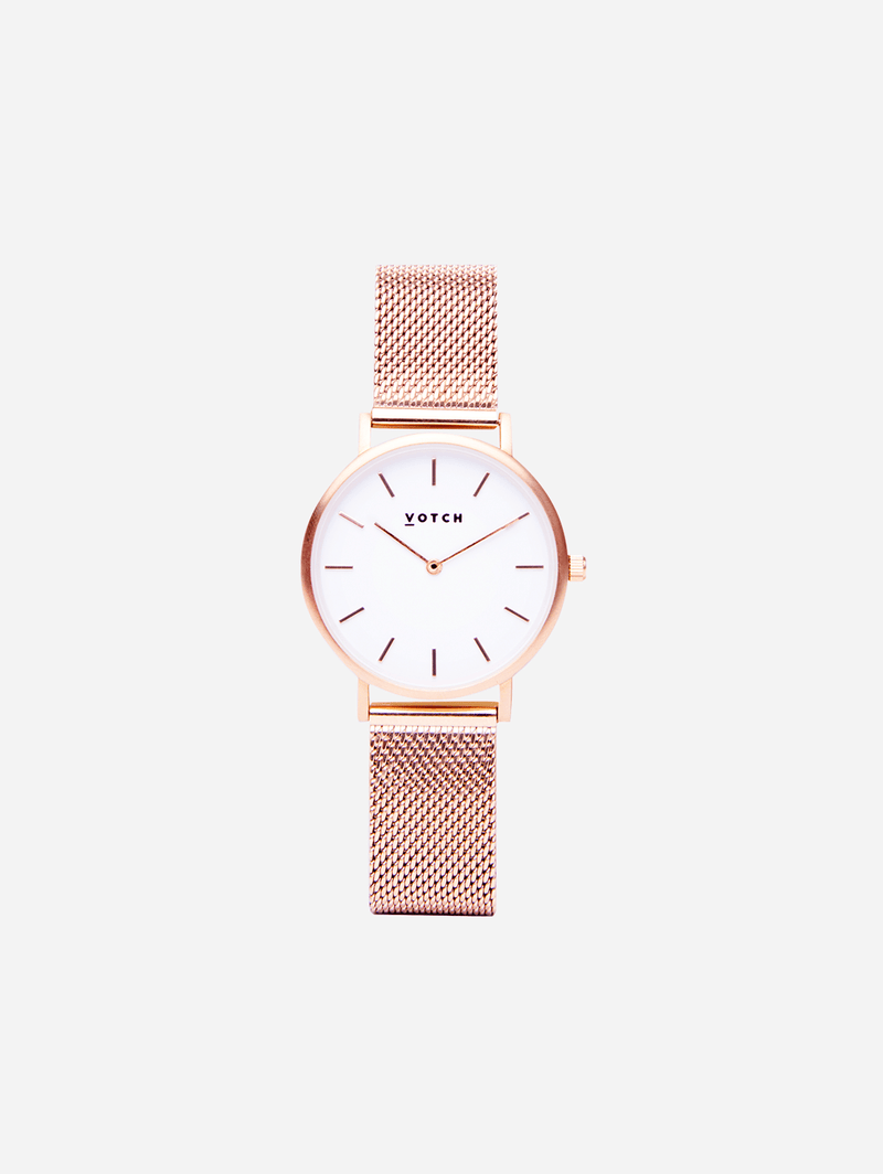 Votch Rose Gold & Rose Gold Vegan Watch | Mesh Petite