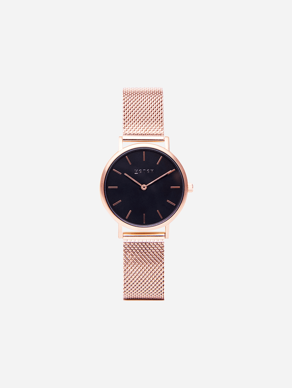 Votch Rose Gold & Rose Gold with Black Face Vegan Watch | Mesh Petite