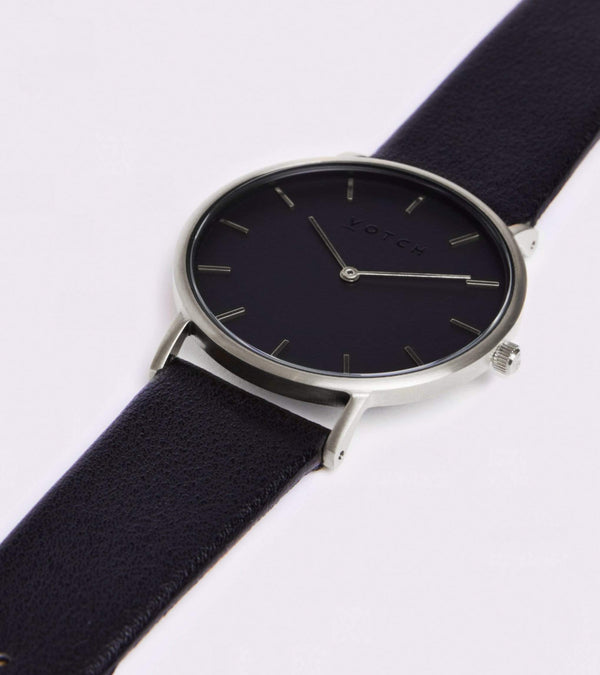 Votch Silver & Black with Black Face Vegan Watch | Classic