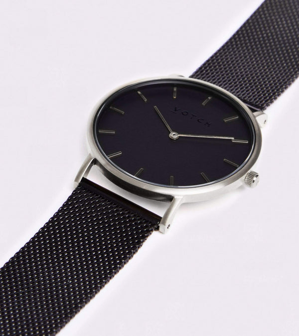 Votch Silver & Black with Black Face Vegan Watch | Mesh Classic