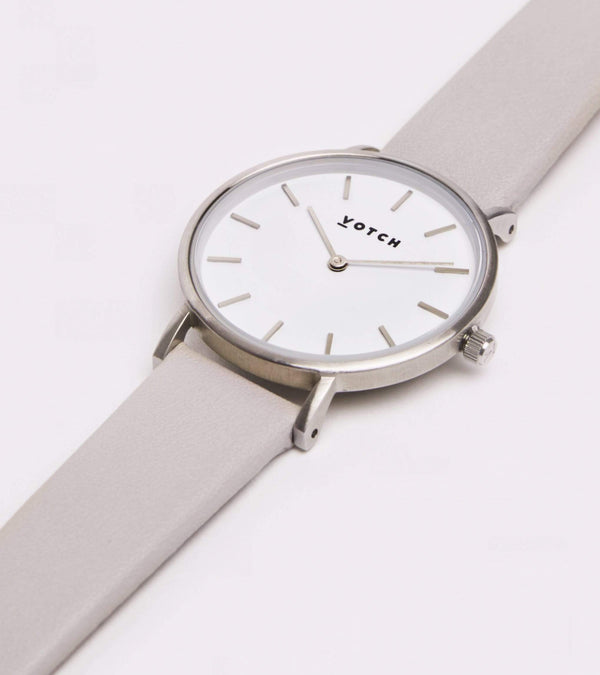 Votch Silver & Light Grey Vegan Watch | Petite
