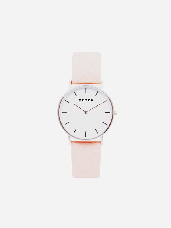 Votch Silver & Pink Vegan Watch | Classic