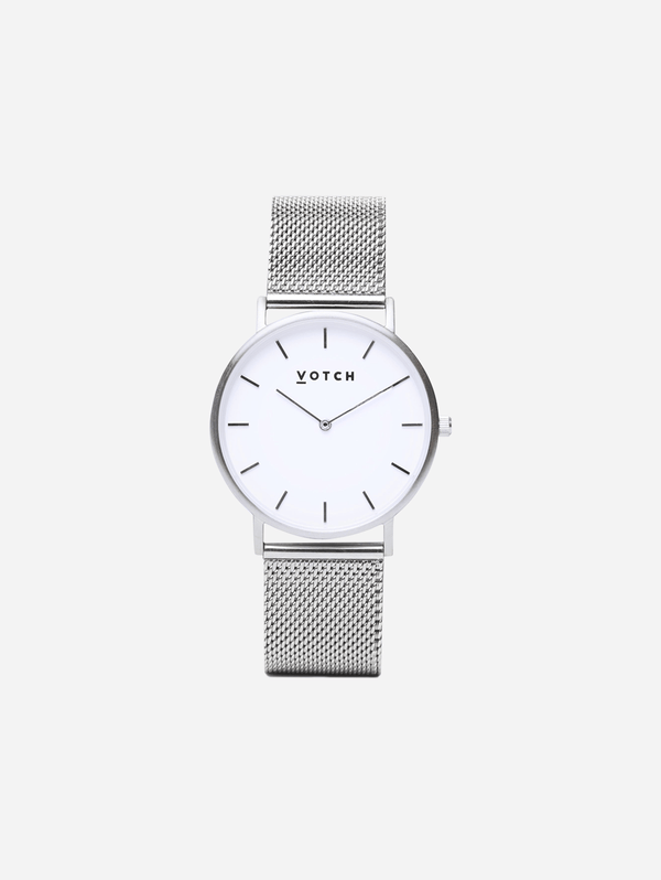 Votch Silver & Silver Vegan Watch | Mesh Classic