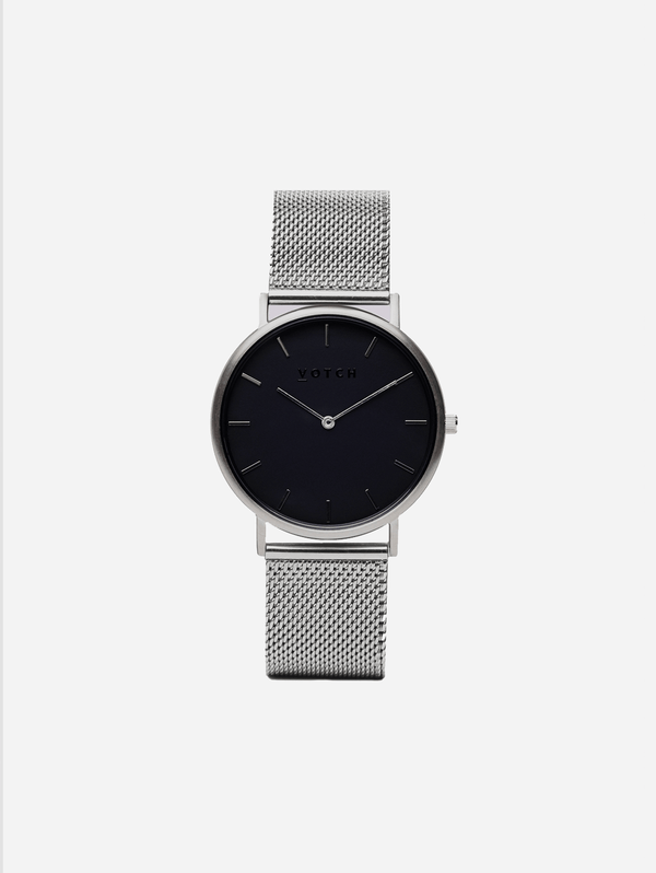 Votch Silver & Silver with Black Face Vegan Watch | Mesh Classic