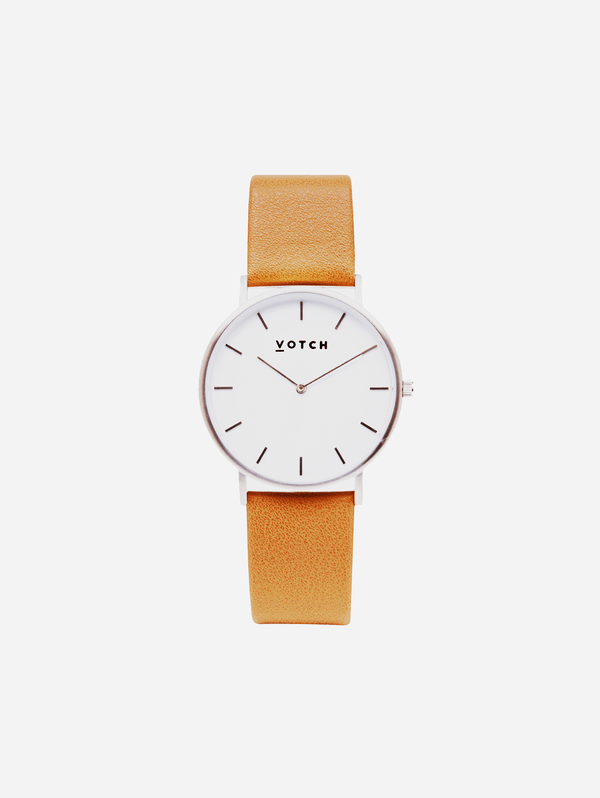 Votch Silver & Tan Vegan Watch | Classic