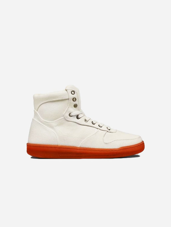 WAES 1978  Vegan High-Top Plastic Free Organic Canvas Trainer | White