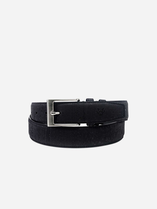 Watson & Wolfe Three-Piece Construction Cork Vegan Belt | Black