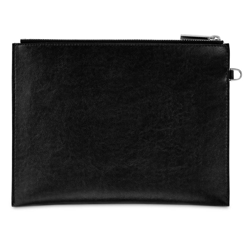 Watson & Wolfe Vegan Leather Pouch with Cuff Handle | Black
