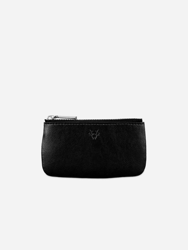 Watson & Wolfe Zipped Vegan Leather Card, Coin & Key Case | Black