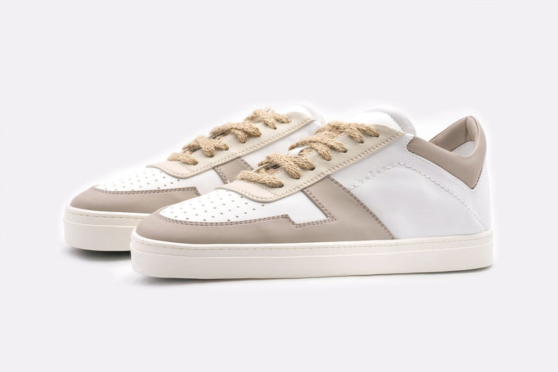yatay IRORI Vegan Leather Trainer | White & Sand Panels