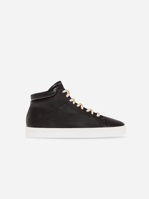 yatay Neven Vegan Leather High-Top Trainer | Slate Black & White Sole