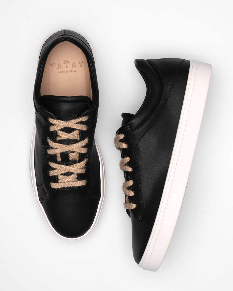 yatay Neven Vegan Leather Low-Top Trainer | Slate Black & White Sole