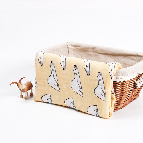 Cotton + Bamboo Fiber Muslin Tree Blanket - Bear