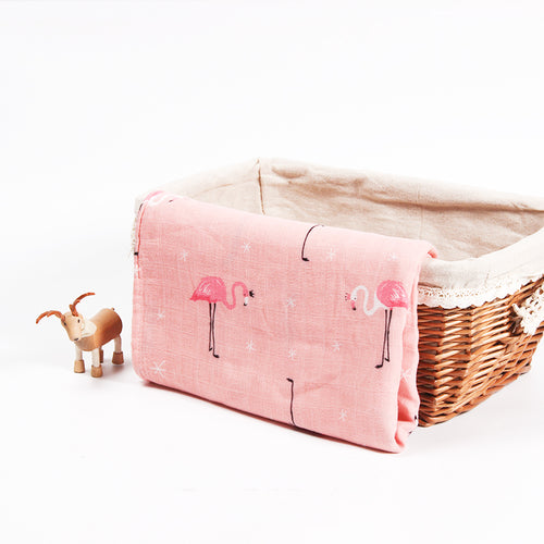 Cotton + Bamboo Fiber Muslin Tree Blanket - Flamingo