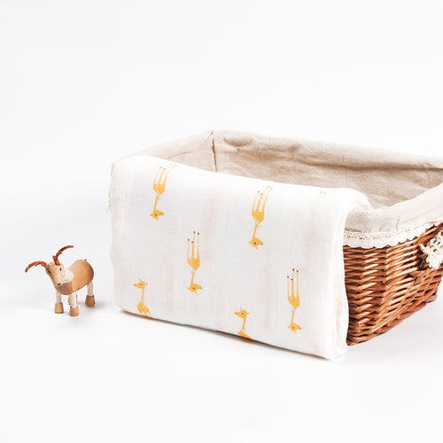 Cotton + Bamboo Fiber Muslin Tree Blanket - Giraffe