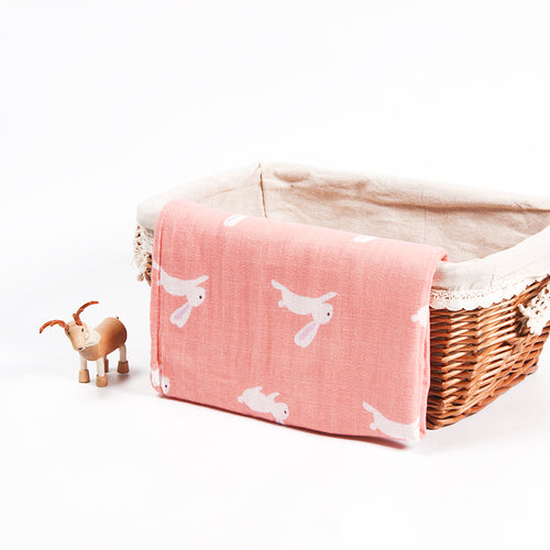 Cotton + Bamboo Fiber Muslin Tree Blanket - Bunny