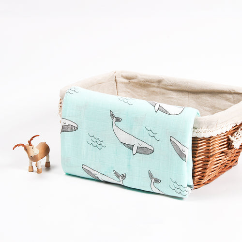 Cotton + Bamboo Fiber Muslin Tree Blanket - Whale