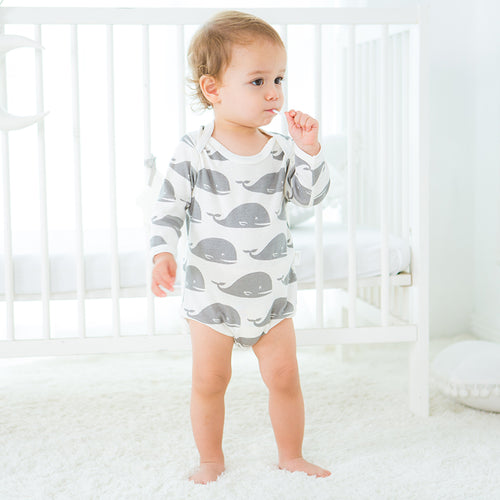 Long Sleeve Organic Bodysuit - Whale