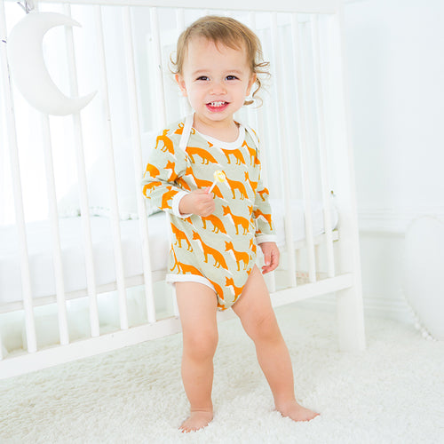Long Sleeve Organic Bodysuit - Fox