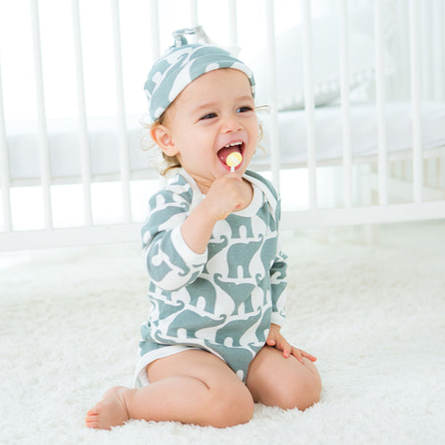 Long Sleeve Organic Bodysuit - Elephant