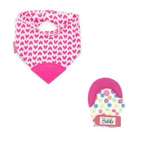 Bubify Mitt and BooginHead Bib Combo – Love and Flowers