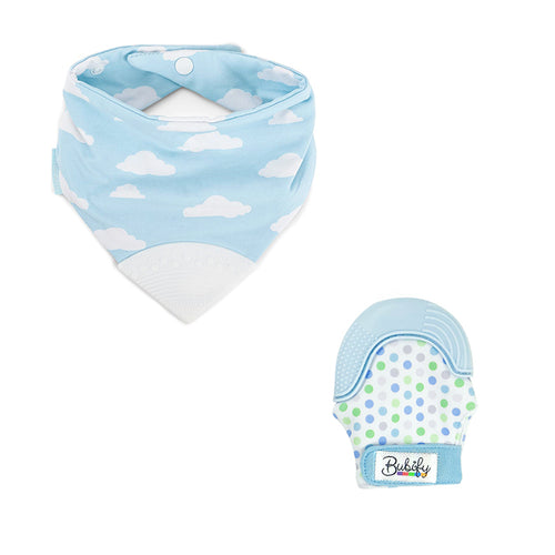 Bubify Mitt and BooginHead Bib Combo – Clouds