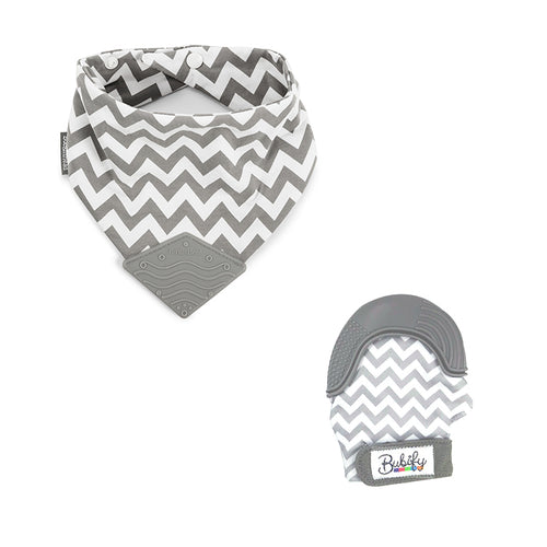Bubify Mitt and BooginHead Bib Combo – Grey Chevron