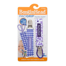 Load image into Gallery viewer, PaciGrip Double Pack Purple Gingham & Purple Daisy