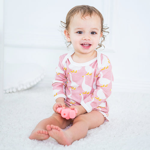 Long Sleeve Organic Bodysuit - Duck