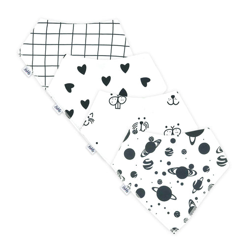 Bandana Bibs 4 Pack - Black & White