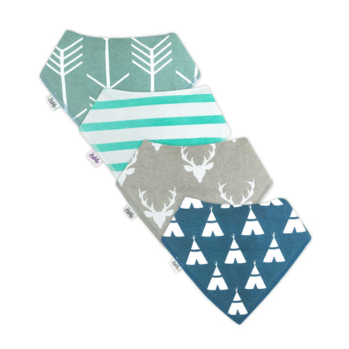 Bandana Bibs 4 Pack - Light Blue