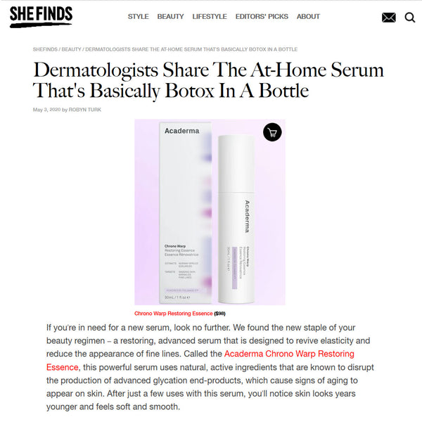 SHEFINDS: Acaderma Chrono Warp Restoring Essence Was Recommended By Dermatologists