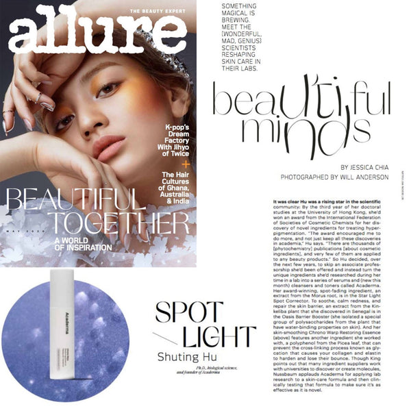 "Allure: Acaderma Interview Titled ""Beautiful Minds"""