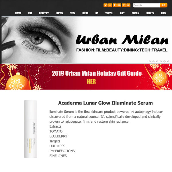 Urban Milan Features Acaderma Lunar Glow In 2019 Holiday Gift Guide